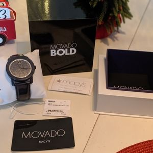 Movado BOLD navy patent with crystald